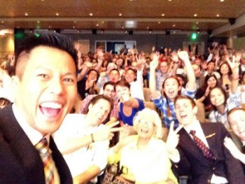 Jimmy Nguyen and crowd