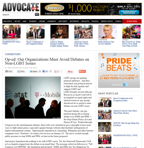 Advocate.com Article on LGBT Groups from Jimmy Nguyen June 2012
