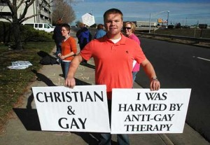 Photo of Gay Reparative Therapy protestor